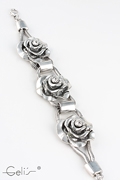 rosebracelet, metal with rhinestones, 20 cm + 7 cm extensionchain, nickel tested