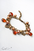 18cm bracelet with glass pearls and metal charms, nickel tested