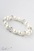 18cm elastic bracelet with pearls and facetted glassbead stations, nickel tested